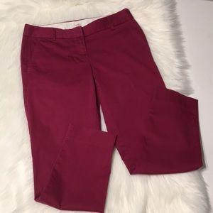 J. Crew Red Stretch Cropped Pants Size 0